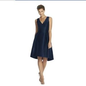 Alfred Sung High-Low Dupioni Cocktail Dress